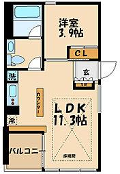 小田急小田原線 祖師ヶ谷大蔵駅 徒歩9分の賃貸マンション 4階1LDKの間取り