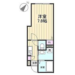 JH AXIS谷在家 3階1Kの間取り