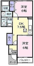 東京都あきる野市平沢の賃貸アパートの間取り