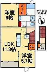 千葉都市モノレール スポーツセンター駅 徒歩17分の賃貸アパート 2階2LDKの間取り