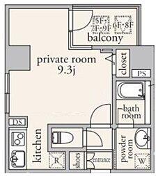 ポンテフェリーチェ 7階ワンルームの間取り