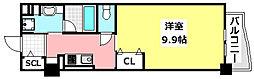 JR東海道・山陽本線 岸辺駅 徒歩3分の賃貸マンション 6階1Kの間取り