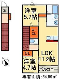 JR総武線 稲毛駅 バス18分 長沼停下車 徒歩9分の賃貸アパート 2階2LDKの間取り