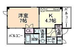 ピュアライフ御幣島[4階]の間取り