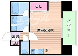 Osaka Metro御堂筋線 大国町駅 徒歩10分の賃貸マンション 5階ワンルームの間取り