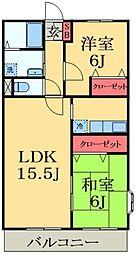 千葉県市原市西広2丁目の賃貸アパートの間取り