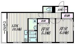 東京都大田区山王1丁目の賃貸マンションの間取り