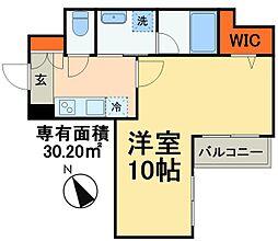 京成本線 海神駅 徒歩3分の賃貸マンション 1階1Kの間取り
