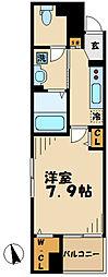 小田急小田原線 読売ランド前駅 徒歩7分の賃貸マンション 2階1Kの間取り