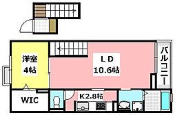 大阪モノレール 南摂津駅 徒歩24分の賃貸マンション 4階1LDKの間取り