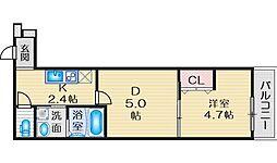 Osaka Metro御堂筋線 江坂駅 徒歩13分の賃貸アパート 2階1DKの間取り