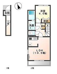 南初富1丁目新築アパート[2階]の間取り