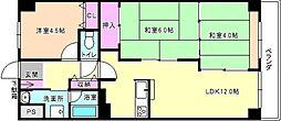大阪府枚方市岡山手町の賃貸マンションの間取り