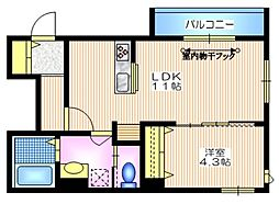 東急東横線 学芸大学駅 徒歩11分の賃貸マンション 2階1LDKの間取り