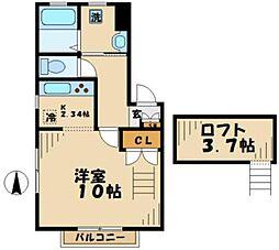 東京都町田市小山ヶ丘5丁目の賃貸アパートの間取り