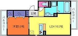兵庫県神戸市中央区神若通5丁目の賃貸アパートの間取り