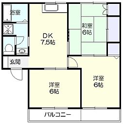 神奈川県横浜市青葉区あざみ野3丁目の賃貸アパートの間取り