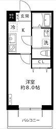 小田急多摩線 黒川駅 徒歩4分の賃貸マンション 2階1Kの間取り