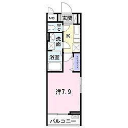 京王相模原線 京王堀之内駅 徒歩10分の賃貸アパート 1階1Kの間取り