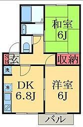 千葉県千葉市緑区あすみが丘2丁目の賃貸アパートの間取り