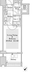 ラ・トゥール新宿ガーデン 30階1Kの間取り