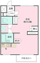 東大宮ダイカンプラザ 1階ワンルームの間取り
