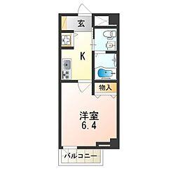 近鉄南大阪線 矢田駅 徒歩7分の賃貸マンション 2階1Kの間取り