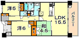 Brilliaレジデンス六甲アイランド 2階3LDKの間取り