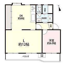 湘南西部住宅2-19号棟[5階]の間取り