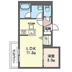Menlo Park Residence 1階1LDKの間取り