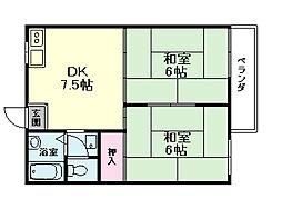 大阪府豊中市栗ケ丘町の賃貸アパートの間取り