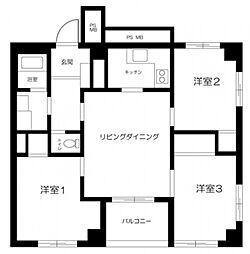 JR東北本線 尾久駅 徒歩4分の賃貸マンション 2階3LDKの間取り