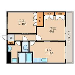 滋賀県愛知郡愛荘町野々目の賃貸マンションの間取り