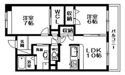 サニングパレス[2階]の間取り