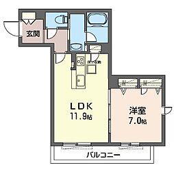 クラヴィーア大倉山 1階1LDKの間取り