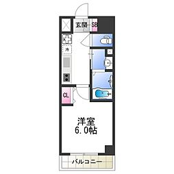 近鉄大阪線 今里駅 徒歩9分の賃貸マンション 6階1Kの間取り