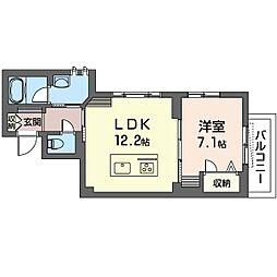 ラ・コリーヌ 2階1LDKの間取り