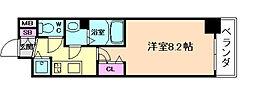 JR大阪環状線 野田駅 徒歩6分の賃貸マンション 4階1Kの間取り