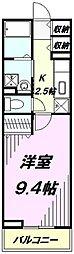 埼玉県所沢市和ケ原2丁目の賃貸アパートの間取り