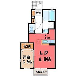 栃木県宇都宮市弥生2丁目の賃貸アパートの間取り