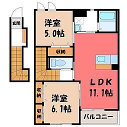 茨城県古河市釈迦の賃貸アパートの間取り