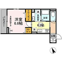 (仮)高松町3丁目レジデンスプロジェクト 3階1Kの間取り