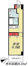 JR総武線 市川駅 徒歩6分の賃貸マンション 2階1Kの間取り