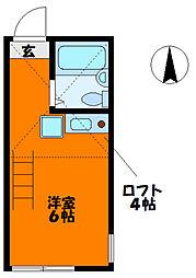 JR南武線 平間駅 徒歩5分の賃貸アパート 1階ワンルームの間取り