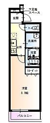 フジパレス関目II番館 2階1Kの間取り