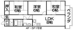 エステル津田[5階]の間取り