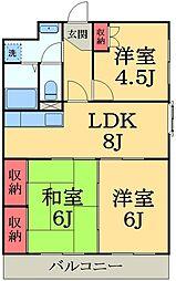 千葉県市原市西五所の賃貸マンションの間取り