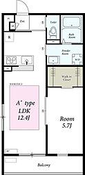 JR横浜線 大口駅 徒歩18分の賃貸アパート 2階1LDKの間取り