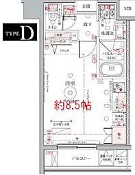 東京メトロ半蔵門線 押上駅 徒歩10分の賃貸マンション 7階ワンルームの間取り