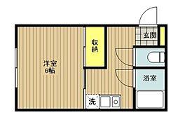 東京都日野市程久保8丁目の賃貸アパートの間取り